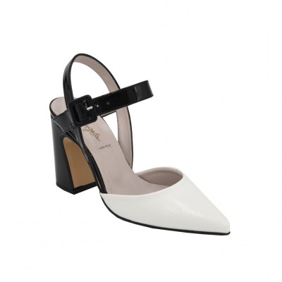 Angela Calzature standard numbers Shoes White ecopelle heel 9 cm