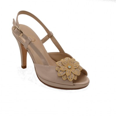 Angela Calzature Numeri Speciali special numbers Shoes Beige satin heel 9 cm