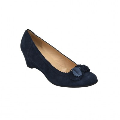 Angela Calzature Numeri Speciali special numbers Shoes Blue chamois heel 5 cm