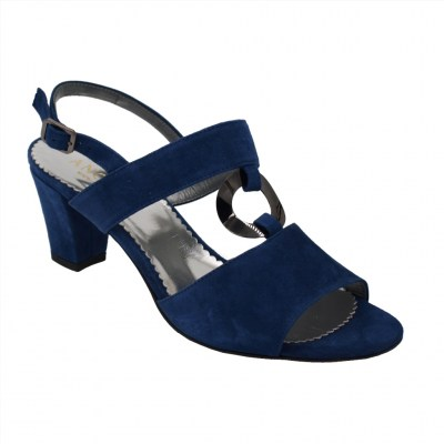 Angela Calzature Numeri Speciali special numbers Shoes Bluette chamois heel 6 cm