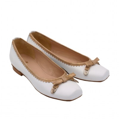 Angela Calzature Numeri Speciali special numbers Shoes White leather heel 1 cm