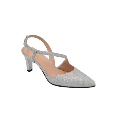 Angela Calzature Sposa e Cerimonia standard numbers Shoes Silver Fabric heel 6 cm