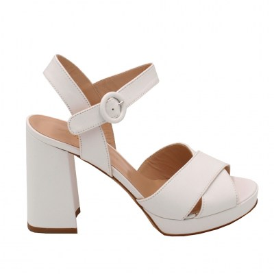 Angela Calzature Sposa e Cerimonia standard numbers Shoes White leather heel 9 cm