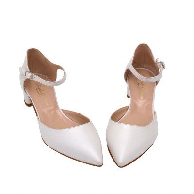 Angela Calzature Sposa e Cerimonia standard numbers Shoes White leather heel 3 cm