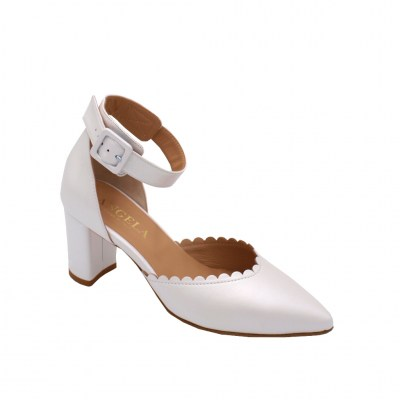 Angela Calzature Sposa e Cerimonia special numbers Shoes White leather heel 6 cm