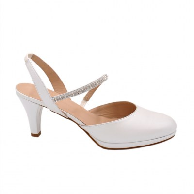Angela Calzature Sposa e Cerimonia standard numbers Shoes White leather heel 6 cm