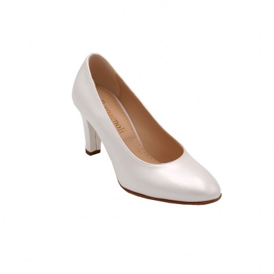 Angela Calzature Sposa e Cerimonia standard numbers Shoes White leather heel 7 cm