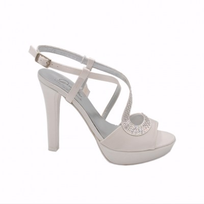 Angela Calzature Sposa e Cerimonia standard numbers Shoes White satin heel 10 cm
