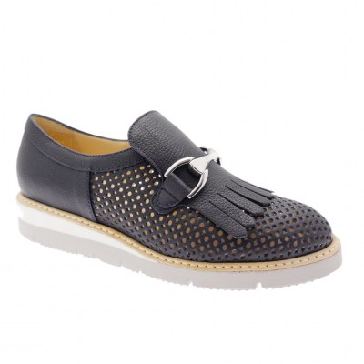 SOFT WOMAN DS0760G woman blue perforated moccasin shoe with fringe and horsebit
