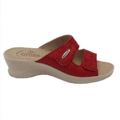 FLYFLOT standard numbers Shoes Red leather heel 4 cm