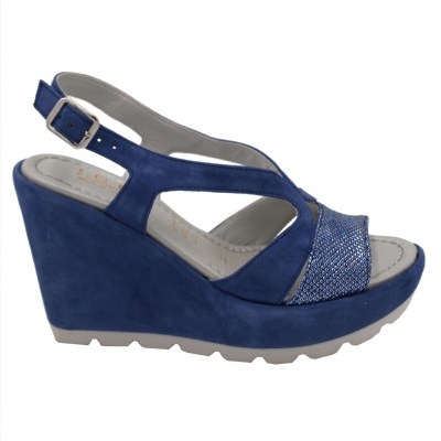 Angela Calzature Numeri Speciali special numbers Shoes Bluette chamois heel 8 cm