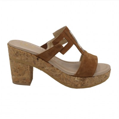 Angela Calzature Numeri Speciali special numbers Shoes marrone chamois heel 7 cm
