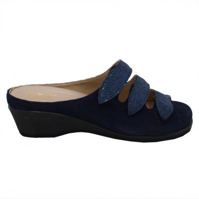 Angela Calzature Numeri Speciali special numbers Shoes Blue chamois heel 2 cm