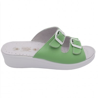 SANITAL LIGHT standard numbers Shoes Green leather heel 2 cm