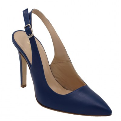 Angela Calzature Numeri Speciali special numbers Shoes Bluette leather heel 10 cm