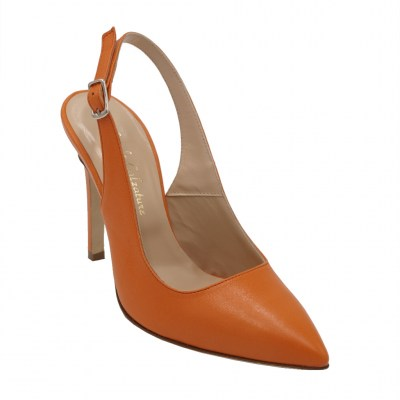 Angela Calzature Numeri Speciali special numbers Shoes arancione leather heel 10 cm