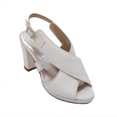 Angela Calzature Numeri Speciali special numbers Shoes White leather heel 8 cm