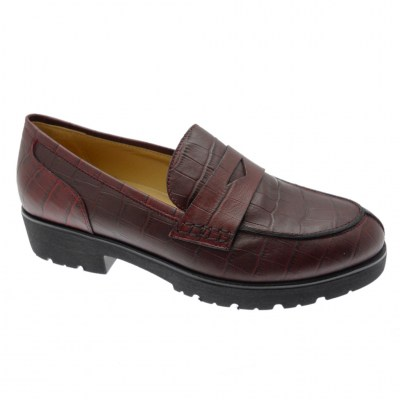 SOFT WOMAN DS0945 bordeaux croco moccasin woman shoe