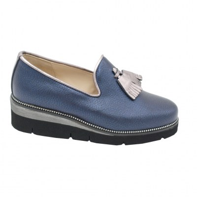 Angela Calzature Numeri Speciali special numbers Shoes Blue leather heel 3 cm