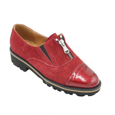 Angela Calzature Numeri Speciali special numbers Shoes Red chamois heel 2 cm