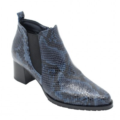 Angela Calzature Numeri Speciali special numbers Shoes Blue leather heel 4 cm