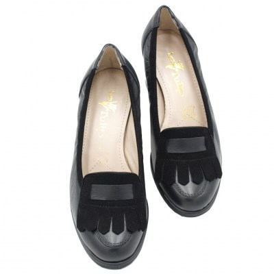 Angela Calzature Numeri Speciali special numbers Shoes black leather heel 5 cm