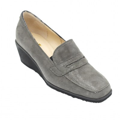 Angela Calzature Numeri Speciali special numbers Shoes Grey leather heel 3 cm