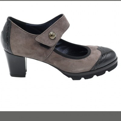 Angela Calzature Numeri Speciali special numbers Shoes Grey chamois heel 5 cm