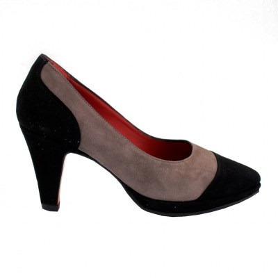 Angela Calzature Numeri Speciali special numbers Shoes Grey chamois heel 7 cm