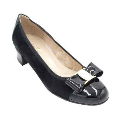 Angela Calzature Numeri Speciali special numbers Shoes black leather heel 2 cm
