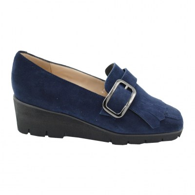 Angela Calzature Numeri Speciali special numbers Shoes Blue chamois heel 3 cm