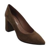 Angela Calzature scarpe donna decollete in camoscio colore marrone tacco medio 4-7 cm    numeri standard