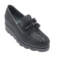 COMART calzaturificio scarpe donna mocassini in camoscio colore nero tacco basso 1-4 cm    numeri standard