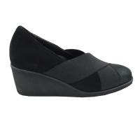Angela Calzature Numeri Speciali scarpe donna decollete in camoscio colore nero tacco medio 4-7 cm   n.34 numeri speciali