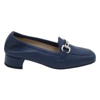 Angela Calzature Numeri Speciali scarpe donna mocassini in pelle colore blu tacco basso 1-4 cm   fino al n.42,43