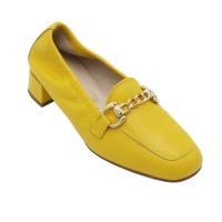 Angela Calzature Numeri Speciali scarpe donna mocassini in pelle colore giallo tacco basso 1-4 cm   fino al 42