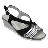 Angela Calzature Numeri Speciali scarpe donna sandali in nabuk colore nero tacco basso 1-4 cm   dal n.34