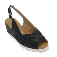 Angela Calzature Numeri Speciali scarpe donna sandali in pelle colore nero tacco basso 1-4 cm   31,32,33,34 numeri speciali
