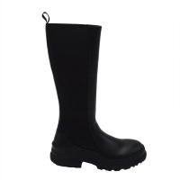 FRAU stivali al ginocchio in pelle colore nero tacco basso 1-4 cm   si infila a spinta veloce e pratico
