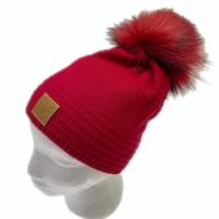 ELK  berretto in maglia rosso con pon pon removibile doppia maglia interna