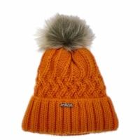 ELK  berretto in maglia arancio pon pon removibile e fascia di  pail interna