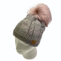 ELK  berretto in maglia grigio melange e rosal pon pon removibile fascia di  pail interna