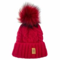 ELK  berretto in maglia rosso con pon pon removibile e fascia di  pail interna