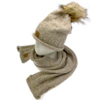 ELK completo berretto e sciarpa in maglia melange beige