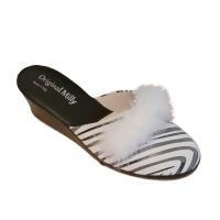 MILLY 300 ciabatta artigianale fantasia zebra animalier bianco nero marabù