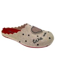 Riposella 4496 ciabatta panno lana cotta beige con cane cuore  plantare estraibile