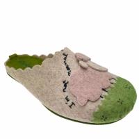 Riposella 4543 ciabatta panno lana cotta verde motivo pecorella  plantare estraibile