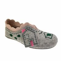 Riposella 4579  pantofola  panno lana cotta fantasia casetta