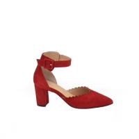 Scarpa Elegante camoscio rosso tacco 6 cm