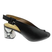 MELLUSO N622PT sandalo nero tacco pitone